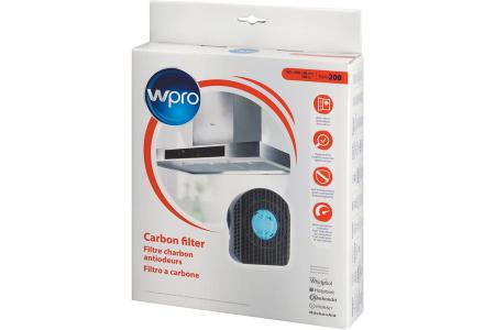 WPRO filtre à charbon type 200dkf42 (200x180x48 mm) hotte aspirante 481281718522, dkf42